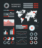 Infographic wereldkaart Stock Afbeelding