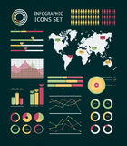 Infographic wereldkaart Stock Fotografie