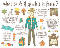Infographic about what to do if you lost in forest. Royalty Free Stock Photography