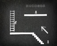 Infographic with White paper people climb to success Stock Images