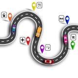 Infographic Wijąca droga z znakami 3d samochody Ścieżka wskazująca nawigatorem ilustracja ilustracji