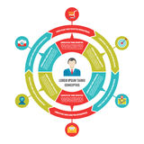 Infographic-Wirtschaftskreis-Konzept mit Ikonen im flachen Art-Design Lizenzfreie Stockbilder