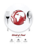 Infographic world of food Design template. tomato sauce on world Stock Photo