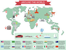Infographic world landmarks on map Stock Photo