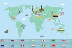 Infographic world landmarks on map.  Vector. Illustration Royalty Free Stock Image