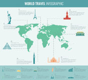 Infographic world landmarks on map. Vector Stock Image