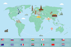 Infographic world landmarks on map. Vector Royalty Free Stock Photography