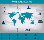 Infographic world landmarks on map. Vector Stock Photos