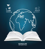 Infographic world line paper book diagram creative paper cut. Royalty Free Stock Images