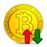 Infographic wzrostowy bitcoin na białym tle Odosobniony 3d illu royalty ilustracja