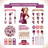 Infographic y los símbolos de las mujeres hermosas ilustración del vector
