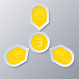 Infographic yellow Points arranged in sun circle with 3 steps. Royalty Free Stock Photography