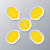 Infographic yellow Points arranged in sun circle with 4 steps. Stock Images