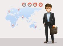Infographic z światową mapą i biznesmenem ilustracja wektor