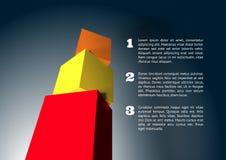 Infographic z 3D sześcianu ostrosłupem Zdjęcia Royalty Free