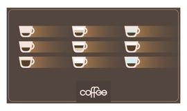 Infographic z kawowymi typ Przepisy, proporcje kawy odosobniony menu biel r?wnie? zwr?ci? corel ilustracji wektora obrazy stock