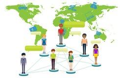 Infographic z ludźmi i światową mapą ilustracji