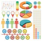 Infographic z ludźmi i wykresami w cztery kolorach royalty ilustracja