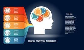 Infographic z przekładniami w mężczyznach przewodzi, i colorfull obdziera Szablon z 5 opcjami używał inteligencji inny i pojęcie royalty ilustracja