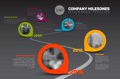 Infographic-Zeitachse-Schablone mit Zeigern Lizenzfreies Stockfoto