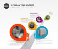 Infographic-Zeitachse-Schablone mit Zeigern Stockfotografie