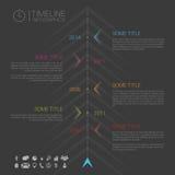 Infographic Zeitachseschablone des modernen Vektors mit Ikonen Lizenzfreie Stockfotos
