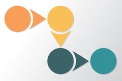 Infographic 4 zerteilt, Stücke, Abschnitte oder Schritte Rand der Farbband-, Lorbeer- und Eichenblätter Lizenzfreies Stockfoto