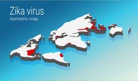 Infographic Zika het virus omvat wereldwijd transmissie Isometrisch kaartconcept Royalty-vrije Stock Afbeelding