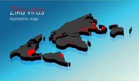 Infographic Zika het virus omvat wereldwijd transmissie Isometrisch kaartconcept Stock Fotografie