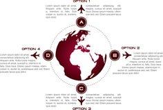 Infographicachtergrond met bol en vliegtuigensymbolen royalty-vrije illustratie