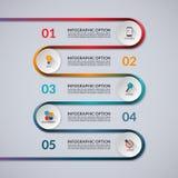 Infographicbanner met 5 opties, stappen, delen Royalty-vrije Stock Afbeeldingen