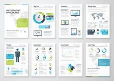 Infographicbrochures voor bedrijfsgegevensvisualisatie Stock Afbeelding