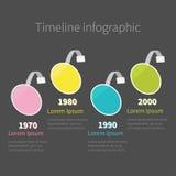 Infographicchronologie vier stap om cirkel wobbler malplaatje Vlak Ontwerp Stock Foto