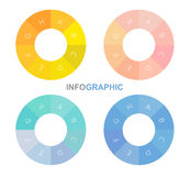 Infographiccirkel, vectorcirkel met binnen alfabetten Stock Foto