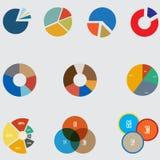 Infographicelementen, cirkeldiagram vastgesteld pictogram, bedrijfselementen en statistieken Stock Foto's