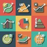 Infographicelementen en geplaatste diagrammenpictogrammen Stock Foto