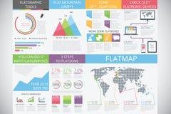 Infographicelementen op moderne manier: vlakke stijl Stock Afbeeldingen