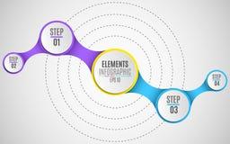 Infographicelementen voor uw bedrijfsprojecten Document, volumetrische cirkels met aantallen in de stijl metaball Multicolored co stock illustratie
