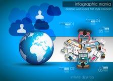 Infographicgroepswerk en brainstorming met Vlakke stijl Stock Foto's