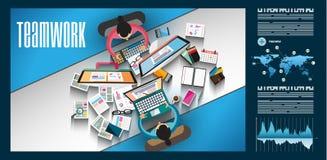 Infographicgroepswerk en brainstorming met Vlakke stijl vector illustratie