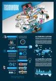 Infographicgroepswerk en brainstorming met Vlakke stijl Royalty-vrije Stock Fotografie