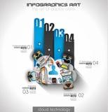 Infographicgroepswerk en het brainsotrming met Vlakke stijl Royalty-vrije Stock Fotografie