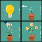 Infographicillustratie van investering met geldboom in vier stappen De tekst schetste vrije doopvontbron zonder aanmunting Royalty-vrije Stock Foto