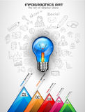 Infographiclay-out voor de achtergrond van het Brainstormingsconcept met grafieken Stock Foto