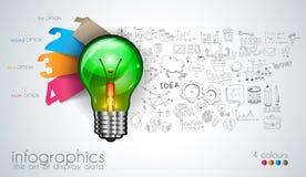 Infographiclay-out voor de achtergrond van het Brainstormingsconcept met grafiekenschetsen Stock Afbeeldingen