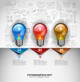 Infographiclay-out voor de achtergrond van het Brainstormingsconcept met grafiekenschetsen Royalty-vrije Stock Afbeeldingen