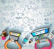 Infographiclay-out voor de achtergrond van het Brainstormingsconcept met grafiekenschetsen Royalty-vrije Stock Afbeelding