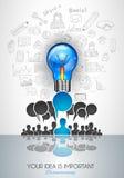 Infographiclay-out voor de achtergrond van het Brainstormingsconcept met grafiekenschetsen Stock Afbeelding