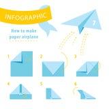 Infographicleerprogramma Hoe te om document vliegtuig te maken Royalty-vrije Stock Fotografie