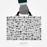 Infographicmalplaatje met de greep van de bedrijfs zakenmanhand zakkaliber vector illustratie